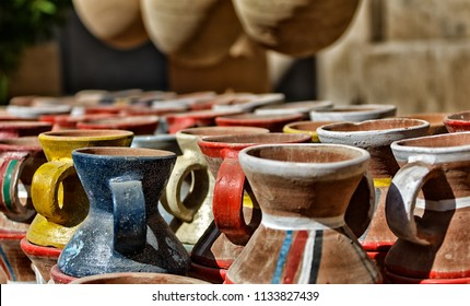 Pots in Nizwa fort, Oman. Sultanate of Oman.