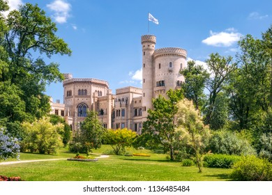 POTSDAM, GERMANY - 15 July 2018: Babelsberg castle in Babelsberg park