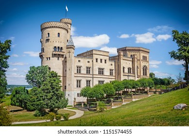 POTSDAM, GERMANY - 15 July 2018: Babelsberg castle in Babelsberg park