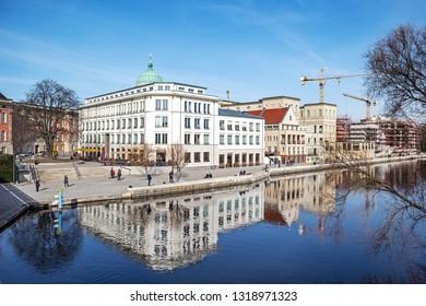 POTSDAM, GERMANY - 16 Feb 2019: Downtown of Potsda, the area of Otto-Braun-Platz
