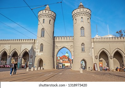 POTSDAM, GERMANY - 16 Feb 2019: Nauener Tor, one of the three preserved old gates of Potsdam, built in 1755