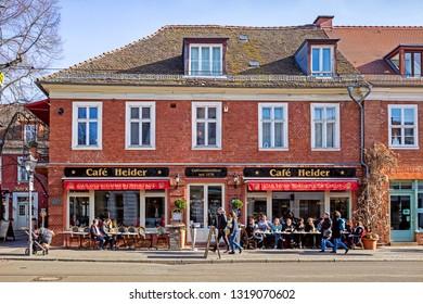 POTSDAM, GERMANY - 16 Feb 2019: Dutch Quarter in the downtown of Potsdam on a warm sunny winter day