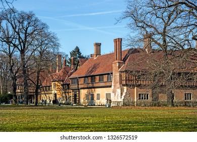POTSDAM, GERMANY - 17  Feb 2019: Cecilienhof palace in Neu Garten, Potsdam, Germany