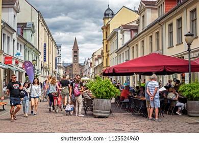 POTSDAM, GERMANY - 30 Jun 2018: Crowded Branderburger Street in the down town of Potsdam on a summer week-end