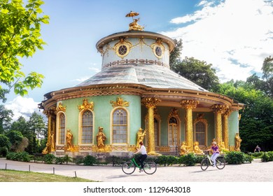 POTSDAM, GERMANY - 30 Jun 2018:    Chinese Teahouse, a picturesque garden pavilion in the beautiful Park Sanssouci in summer
