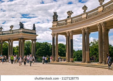 POTSDAM, GERMANY - 30 June 2018: Sanssouci, the summer palace of Frederick the Great, King of Prussia, in Potsdam, near Berlin