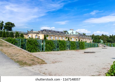 Potsdam, Germany - August 17, 2018: The South or Garden facade and corps de logis of Sanssouci.