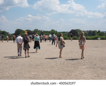 POTSDAM, GERMANY - CIRCA JUNE 2016: Tourists visiting the Schloss Sanssouci royal summer palace of Frederick the Great King of Prussia