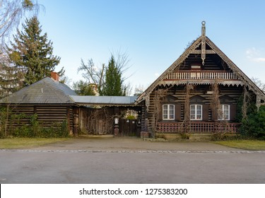 POTSDAM, GERMANY - DECEMBER 2018: Front view of traditional wooden Russian house at Russian Quartier, former Russian colony village, in Potsdam, Germany.