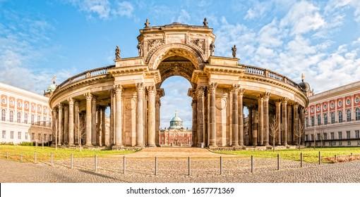 Potsdam, Germany - December, 2019: New Palace in Sanssouci Park, Potsdam, Germany.