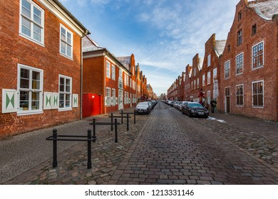 POTSDAM, GERMANY - DECEMBER 26, 2014: Downtown street in Postdam at winter.