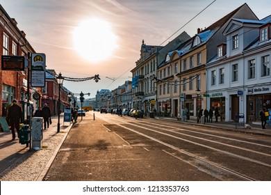 POTSDAM, GERMANY - DECEMBER 26, 2014: Downtown street in Postdam at winter.