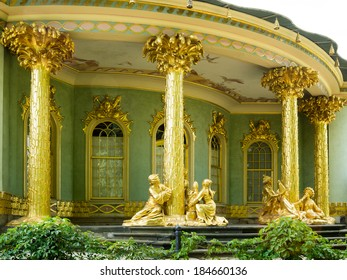 POTSDAM, GERMANY - JULY 15, 2013: Chinese tea house from 18th century, part of Sanssouci park. Sanssouci is the former summer palace of Frederick the Great, King of Prussia.