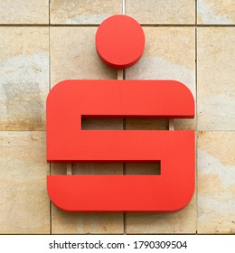 POTSDAM, GERMANY – JULY 27, 2020: Symbol of a savings bank Sparkasse in a branch in the city centre of Potsdam in Germany