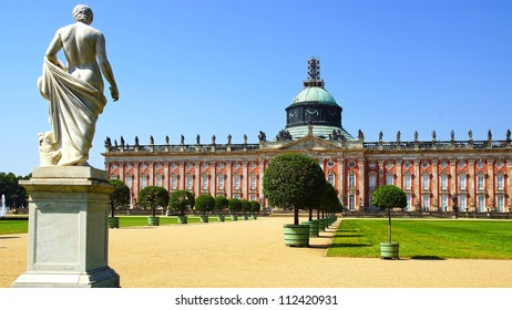 POTSDAM, GERMANY - JULY 27: Sanssouci New Palace. In 1763 San Sushi was laid New Palace. Luxurious three-story building became the summer Royal residence; July 27, 2012 in Potsdam, Germany.