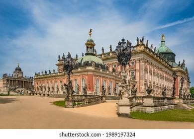 POTSDAM, GERMANY - June 1, 2021: New Palace (Neues Palais) in Sanssouci park, Potsdam, Germany
