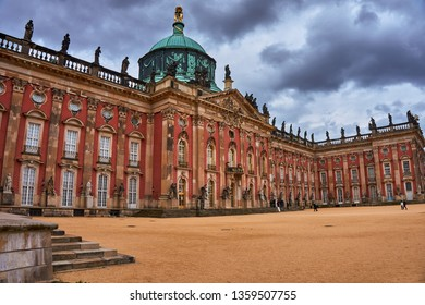 POTSDAM, GERMANY, MARCH 2019: Sanssouci Palace in Potsdam, Germany. A UNESCO World Heritage Site. The famous Schloss Sanssouci, a royal summer palace of Frederick the Great in Potsdam, Germany, Europe