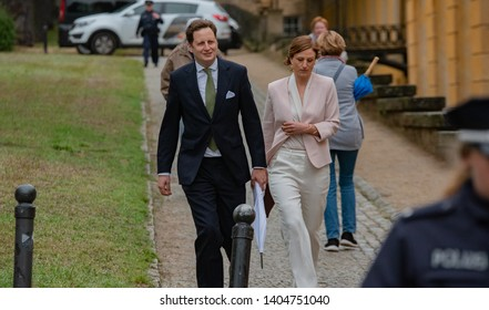 Potsdam - GERMANY - May 22: Georg Friedrich Ferdinand, Prince of Prussia withb his Wife Sophie Johanna Maria, Princess of Prussia at New Chambers/Palace Sanssouci on May 22, 2019 in Potsdam, Germany.
