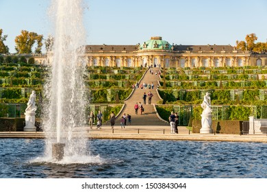 Potsdam, Germany, October 11, 2018 - Park and Castle Sans souci of King Frederick of Prussia