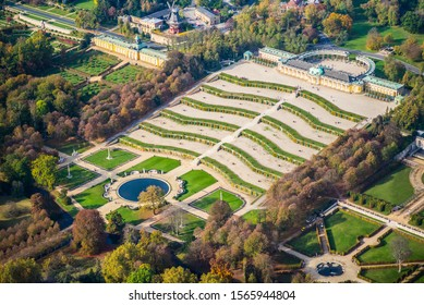 Potsdam, Germany, Sanssouci palace in early autumn - aerial view