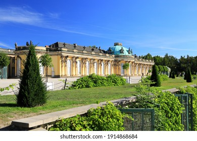 Potsdam, Germany - September 18, 2020: Visiting the royal palace und park Sanssouci in Potsdam on a sunny day in September. View on the south or garden façade and corps de logis of Sanssouci.
