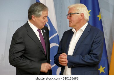 POTSDAM, GERMANY. SEPTEMBER 1ST, 2016: Federal Foreign Minister Dr Frank-Walter Steinmeier welcomes Sirodjidin Aslov, Minister of Foreign Affairs of the Republic of Tajikistan