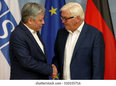 POTSDAM, GERMANY. SEPTEMBER 1ST, 2016: Federal Foreign Minister Dr Frank-Walter Steinmeier welcomes Erlan Abdyldaev, Minister of Foreign Affairs of the Kyrgyz Republic