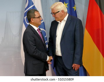 POTSDAM, GERMANY. SEPTEMBER 1ST, 2016: Federal Foreign Minister Dr Frank-Walter Steinmeier welcomes Ahmet Yildiz, Deputy Foreign Minister of the Republic of Turkey