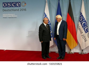 POTSDAM, GERMANY. SEPTEMBER 1ST, 2016: Federal Foreign Minister Dr Frank-Walter Steinmeier welcomes George Vella, Minister of Foreign Affairs of the Republic of Malta