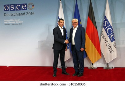 POTSDAM, GERMANY. SEPTEMBER 1ST, 2016: Federal Foreign Minister Dr Frank-Walter Steinmeier welcomes Nikola Poposki, Minister of Foreign Affairs of the Former Yugoslav Republic of Macedonia