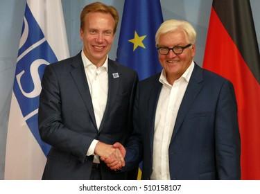 POTSDAM, GERMANY. SEPTEMBER 1ST, 2016: Federal Foreign Minister Dr Frank-Walter Steinmeier welcomes Borge Brende, Minister of Foreing Affairs of Kingdom of Norway