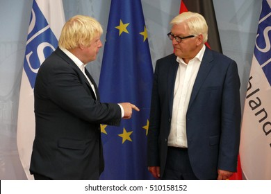 POTSDAM, GERMANY. SEPTEMBER 1ST, 2016: Federal Foreign Minister Dr Frank-Walter Steinmeier welcomes Boris Johnson, Secretary of State for Foreign and Commonwealth Affairs of the United Kingdom