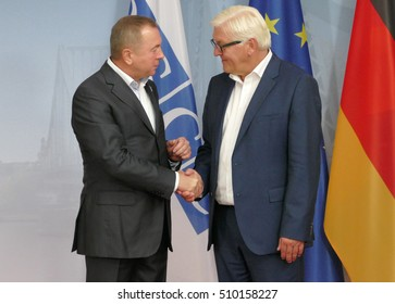 POTSDAM, GERMANY. SEPTEMBER 1ST, 2016: Federal Foreign Minister Dr Frank-Walter Steinmeier welcomes Vladimir Makei, Minister of Foreign Affairs of Republic of Belarus