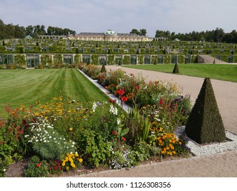 POTSDAM - GERMAY - SEPTEMBER, 2011: Park ensemble of Sanssouci, in the background the palace of Sanssouci, residence of Prussian King Frederick II, one of the most famous historical monuments in EU