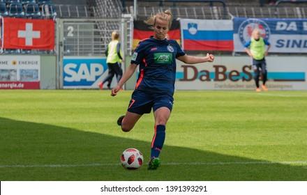 POTSDAM - MAY 5: Turbine Potsdam player Anna Gasper  in action during Match of the Allianz Frauen Bundesliga 1.FFC Turbine Potsdam and MSV Duisburg on May 5, 2019 in Potsdam, Germany.
