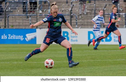 POTSDAM - MAY 5: Turbine Potsdam player Luca Maria Graf in action during Match of the Allianz Frauen Bundesliga 1.FFC Turbine Potsdam and MSV Duisburg on May 5, 2019 in Potsdam, Germany.