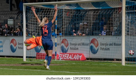 POTSDAM - MAY 5: Turbine Potsdam player Amanda Ilestedt in action during Match of the Allianz Frauen Bundesliga 1.FFC Turbine Potsdam and MSV Duisburg on May 5, 2019 in Potsdam, Germany.