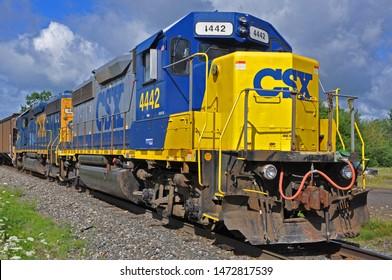POTSDAM, NY, USA - AUG. 11, 2011: CSX EMD GP38-2S Diesel Locomotive  4442 at Potsdam, New York State, USA.