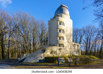 POTSDAME, GERMANY - JANUARY 2018: Outdoor scenery outside Einstein Tower or Einsteinturm,  astrophysical observatory building, surround with natural atmosphere in winter in Helmholtz-Centre Potsdam.