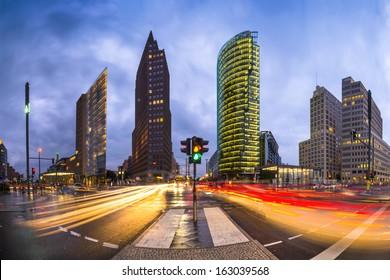 Potsdamer Platz is the financial district of Berlin, Germany. - Shutterstock ID 163039568