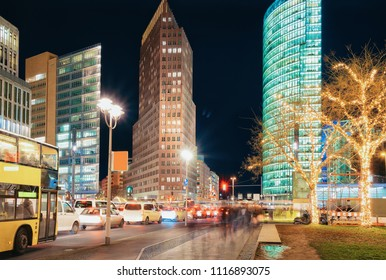 Potsdamer Platz Square with Christmas decoration in Winter Berlin, Germany.