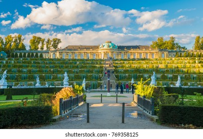 Potsdam,Germany-October 2017:Baroque and Rococo royal residence in Park Sanssouci, Potsdam, Germany