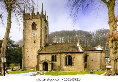 Pott Shrigley village church is a picturesque village church in a rural Cheshire village that is popular for weddings. Cheshire,UK - 24th February 2018
