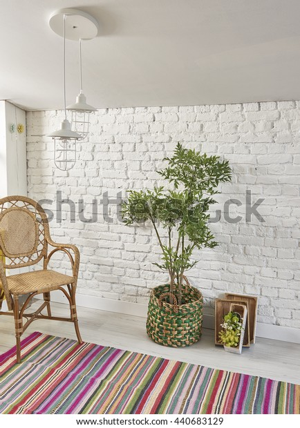 potted green plants brick wall and carpet style interior vintage decor