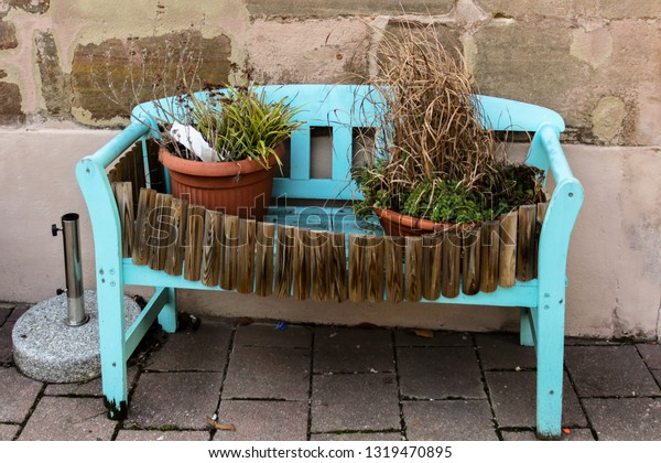 Astounding Potted Plants Stand On Blue Wooden Stock Photo Edit Now Gmtry Best Dining Table And Chair Ideas Images Gmtryco