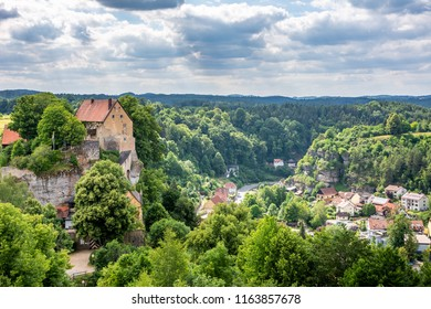 POTTENSTEIN, GERMANY - JUNE 18: HIstoric castle above the village of Pottenstein, Germany on June 18, 2018.