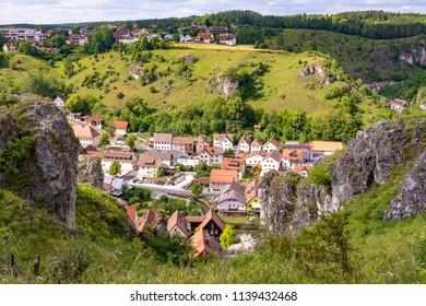Pottenstein village in Franconian Switzerland (Germany)