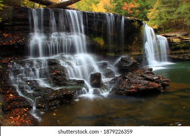 Potter falls in Obed national scenic river in Eastern Tennessee during peak falls colors - Shutterstock ID 1879226359