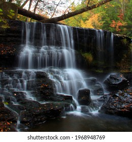 Potter falls in Obed national scenic river in Eastern Tennessee during peak falls colors - Shutterstock ID 1968948769