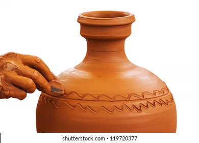 Potter making clay pot isolated on white background